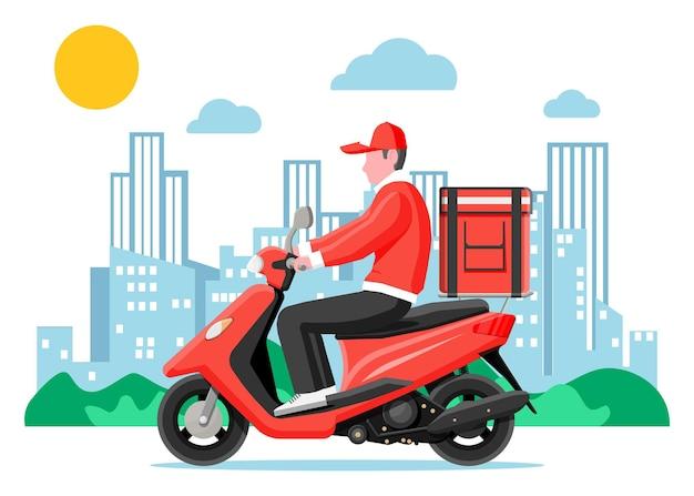 배달 남자 상자와 오토바이 스쿠터를 타고. 도시에서 빠른 배송의 개념