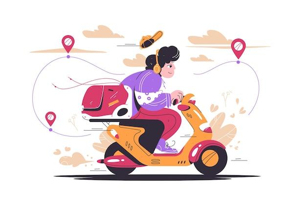 Доставка человек езда на мотоцикле автомобиль векторная иллюстрация онлайн отслеживание заказов плоский стиль