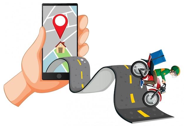Доставщик едет по дороге с рукой с помощью смартфона