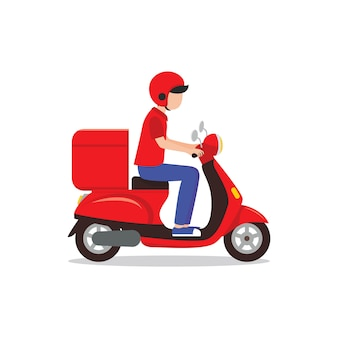 Delivery man riding red scooter illustration