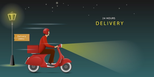 Delivery man riding a red scooter on night. delivery all time. delivery 24hours.