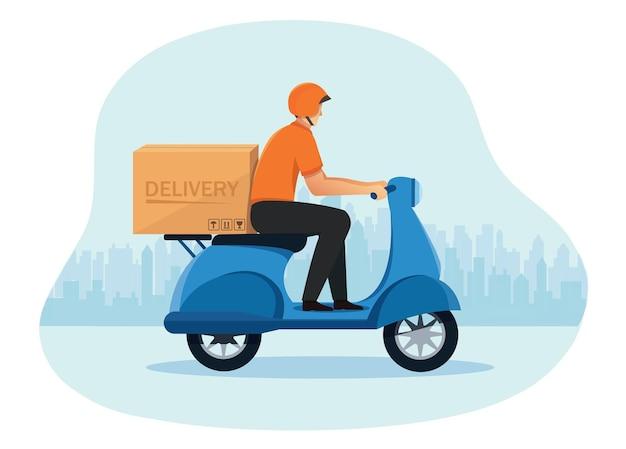스쿠터 오토바이를 타고 배달원 배달 서비스의 개념