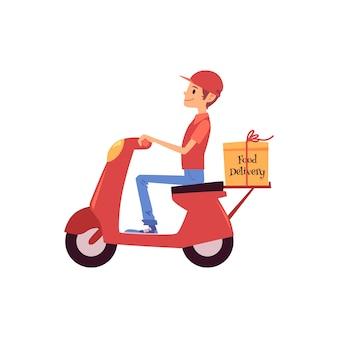白い背景で隔離されたスクーターまたはバイクと配送ボックスの漫画スタイルに乗っている配達人。フードデリバリーサービスの男性宅配便がモップを運転している
