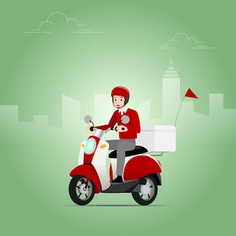 The delivery man riding a scooter.