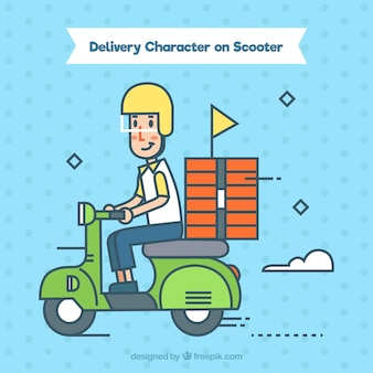 Delivery man on scooter with abstract style