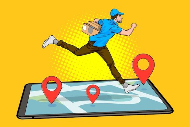 Служба доставки работает, держа большую коробку с навигационным смартфоном в винтажном стиле поп-арт в стиле комиксов