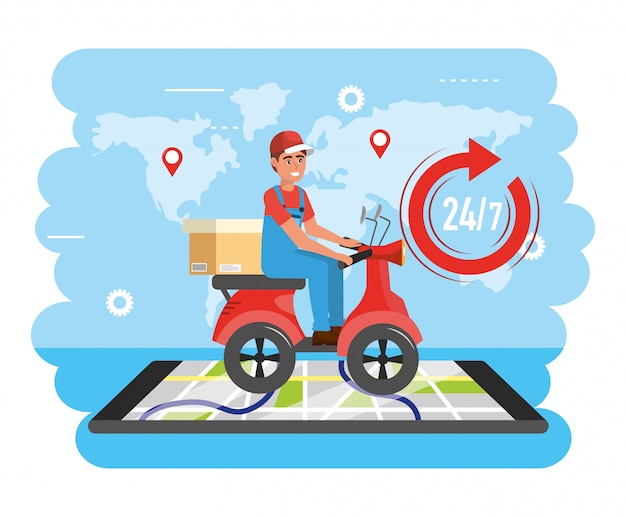 Delivery man service with box and smartphone map location