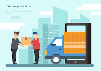 Delivery Man Service With The Customer