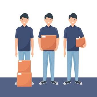 Delivery man  set illustration