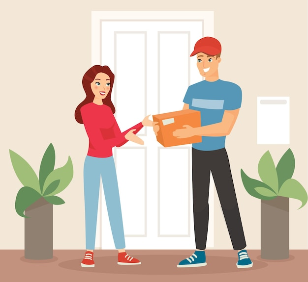 Delivery man in uniform giving a box to a woman, delivery service.