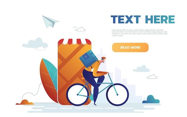 Delivery man using bike web template Premium Vector