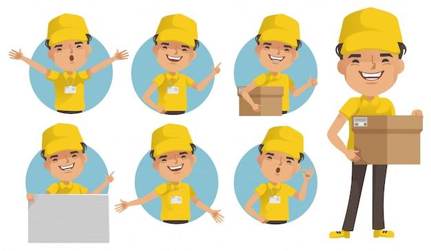 Доставка человек векторный набор. доставщик униформа держит коробку или товар. поза полного стояния и удержания или наведения.