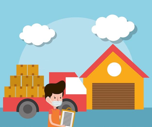Доставка человек склад грузовик с ящиками электронной коммерции интернет-магазины ковид 19 коронавирус