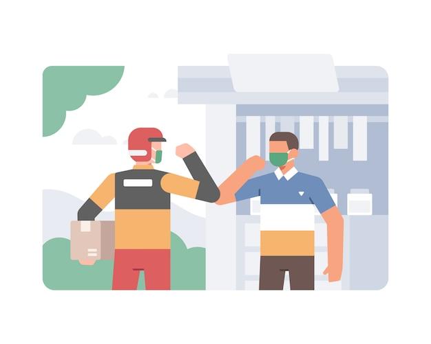 配達人が顔のマスクを着用し、コロナウイルスのイラストを防ぐために肘を使って顧客と握手する