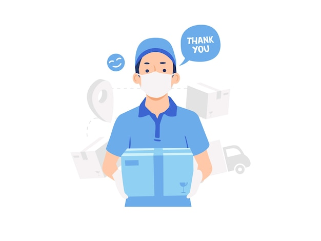 Delivery man wearing face mask concept illustration