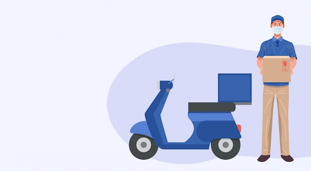 Delivery man wearing face mask holding parcel, vector