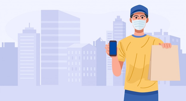 Delivery man wearing face mask holding smart phone and bag with food,