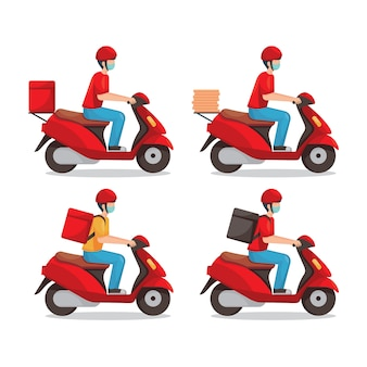 Delivery man wearing medical mask and riding red scooter  set illustration