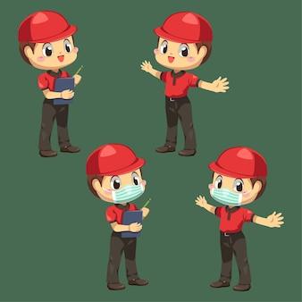 Доставщик в униформе и кепке с контрольной панелью в мультипликационном персонаже, изолированная плоская иллюстрация