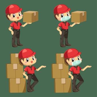Доставщик в униформе и кепке со стопкой посылок в мультипликационном персонаже, изолированной плоской иллюстрации