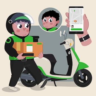 ジョブツールを完備したアニメーションの準備ができて自転車かわいい2dキャラクターと配達人