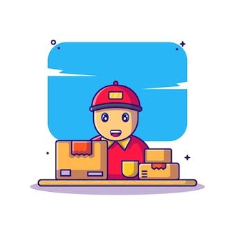 Доставка человек с коробкой иллюстрации шаржа
