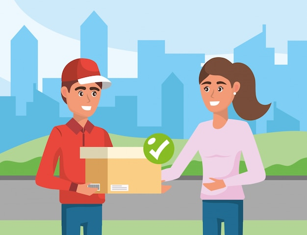 Delivery man with box distribution service to a woman