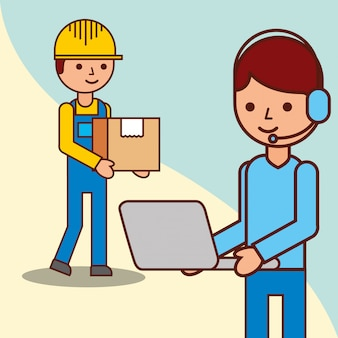 Delivery man with a box and operator man holds laptop