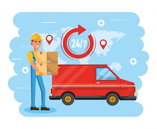 Delivery man with boxes distribution service