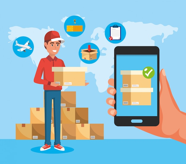 Delivery man with boxes service and smartphone technology in the hand