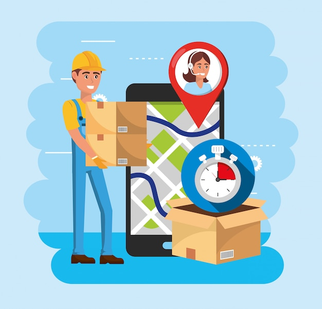 Delivery man with boxes and smartphone with map location and call center service