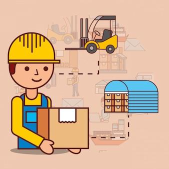 Uomo di consegna con magazzino scatola di cartone e carrello elevatore