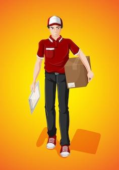 Доставка человек с картонной коробкой