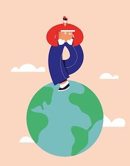 안면 마스크와 배달 남자는 전세계 상품의 배달을 걸립니다