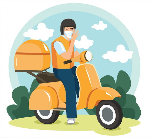 Delivery man with motorcycle, send order package to customer, express delivery bike service, flat illustration.