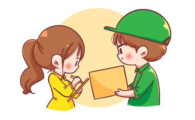 Delivery man with parcel box give to woman costumer