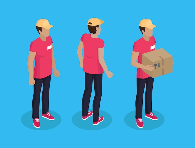 Delivery man with parcel set illustration