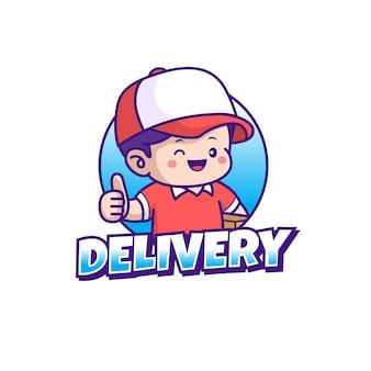 Дизайн логотипа талисмана доставки изолированный фон