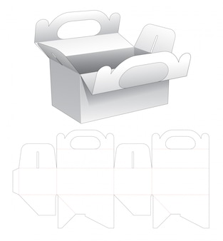 Delivery meal box with holder die cut template