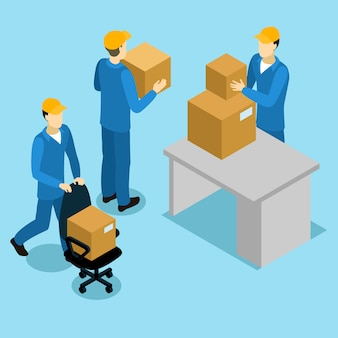 Delivery men at office isometric design