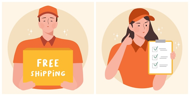 Delivery men standing with parcel post box and text space free shipping vector illustration.