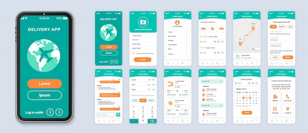 Delivery mobile app pack of ui, ux, gui screens for application