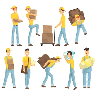 Delivery and moving company employees carrying heavy objects
