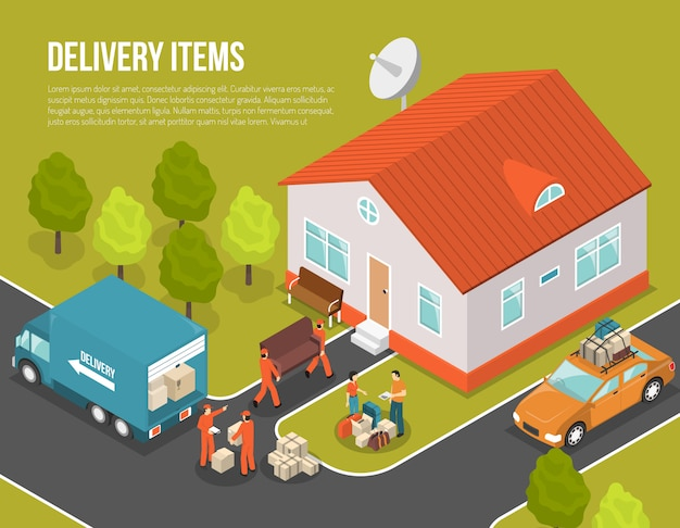 Delivery moving new settler illustration