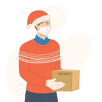 Delivery of new years gifts during the pandemic of coronavirus