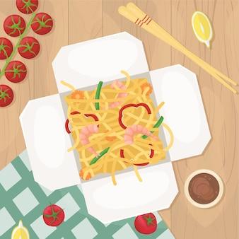 中華料理を宅配ボックスでお届けします。ボックスでアジア料理。エビと野菜の焼きそば。イラストを置きます。