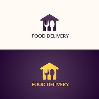 家への食糧の配達。会社のロゴ。製品の配送。