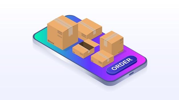 온라인 아이소메트릭 벡터 주문 및 배달 주문을 위한 상품 모바일 애플리케이션 배달