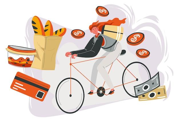 주문한 음식과 요리 배달, 자전거를 타고 목적지까지 가는 여성. 포장에 갓 구운 바게트, 용기에 샐러드. 빠른 운송을 위해 돈을 벌고 플랫 스타일의 벡터