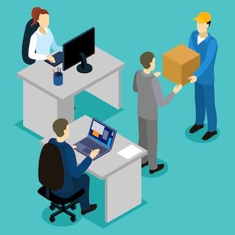 Consegna in ufficio composizione isometrica